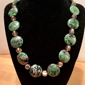 """19"""" Healing Zoisite beads and pink blown glass"""